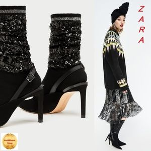 ZARA Sequined Sock-Style Slingback Court Shoes